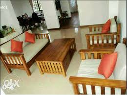 Fully Design In Teak Wood Sofa Set  With Cushion Bengaluru - Teak wood sofa set designs