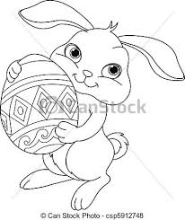 easter bunny coloring illustration happy easter