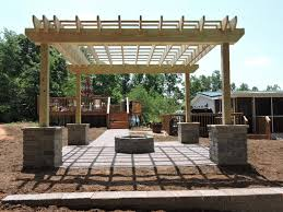 Fire Columns For Patio Paver Patio With Fire Pit Pergola Columns Retaining Wall And