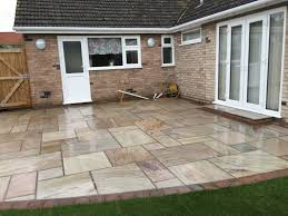 Indian Sandstone Patio by Raveena Indian Sandstone Patio Area With Burnt Amber Edging Diss