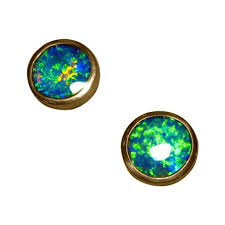 green stud earrings opal stud earrings 14k gold green flashopal