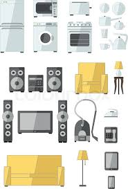 Microwave And Toaster Set Set Of Household Appliances Flat Colourful Icons With A Washing
