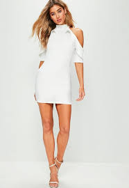 cold shoulder dress exclusive white frill cold shoulder dress missguided