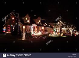 beautifully lighted houses on stock photo royalty free