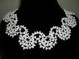lace collar necklace images Tatted lace collar necklace elegant bride wedding white jpg