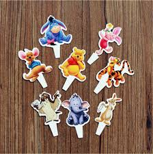 winnie the pooh cake topper 24pcs winnie pooh cupcake toppers with bamboo kids