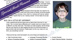 Example Of A Student Resume by Sample Letters To Your Child U0027s New Teacher For Apraxia Autism