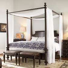 Classic Wooden Bedroom Design Elegant Sheer Drapes For Canopy Beds With Traditional Wooden