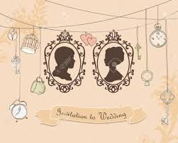 vector wedding invitation card vintage card with silhouette
