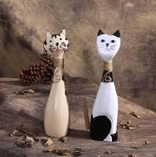 zakka lovely couple kitten wood crafts home decoration ornaments