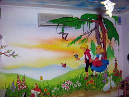 Cartoon Wall Painting For Kids Room Cartoon Wall Painting For - Wall painting for kids room