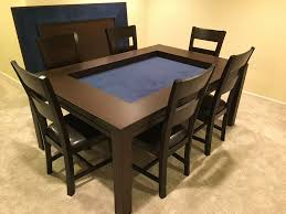 dining game table one table for everyday dining and game night shown in sagamore hill finish and dark blue fabric thanks ben