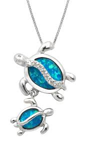 opal necklace silver images Sterling silver mom and baby turtle cz necklace jpg