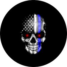 Thin Blue Line Flag American Flag Skull Thin Blue Line Tire Cover