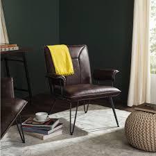 safavieh johannes antique brown leather arm chair fox1700a