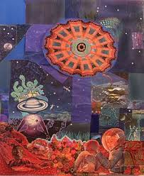 larry carlson in the garden of dreams collage on wooden board