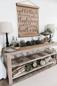 thanksgiving decor rustic farmhouse style shelves and console