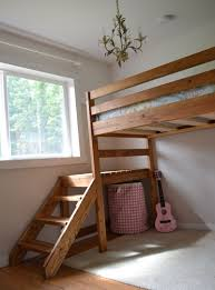 Wooden Loft Bed Plans by Ana White Camp Loft Bed With Stair Junior Height Diy Projects