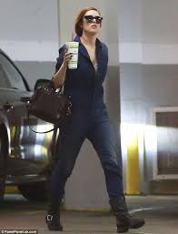 blue mechanic jumpsuit rumer willis is mechanic chic in a blue jumpsuit and black boots