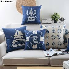 Nautical Throw Pillows Coastal Decorative Throw Pillow Case Blue