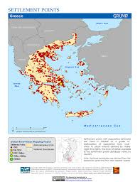 Map Greece by Maps Global Rural Urban Mapping Project Grump V1 Sedac