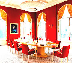 red dining with picasso interiors by color architectural digest