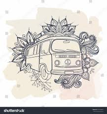 hippie van drawing hand drawing vintage mini van illustration stock vector 673599907