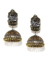 antique gold jhumka earrings rubans antique oxidised gold silver toned dome shaped jhumkas