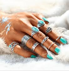 midi rings set turquoise trendy boho midi knuckle rings set of 10 silver or