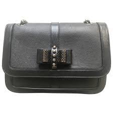 black plain leather christian louboutin handbag vestiaire collective