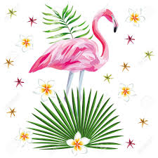 wallpaper with pink flamingos vector illustration of a single pink flamingo tropical leaves