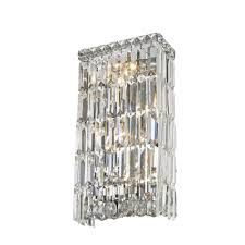 worldwide lighting cascade 4 light chrome and clear crystal sconce