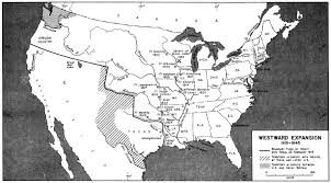 map usa y mexico westward expansion in united states 1815 1845 historical map