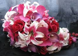 Cascade Bouquet Natural Touch Cascade Bouquet Orchid Red Rose Purple Cal