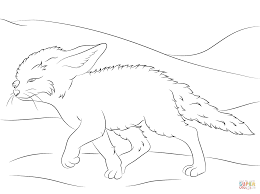 cute fennec fox walks coloring page free printable coloring pages