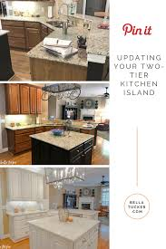 two tier kitchen island update bella tucker decorative finishes updating your two tier kitchen island can add instant counter space and functionality to your