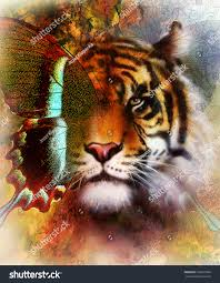 portrait tiger eagle butterfly wings color stock illustration