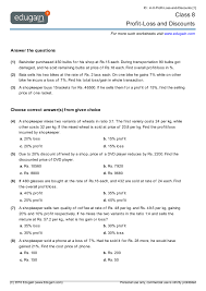 grade 8 math worksheets and problems profit loss and discounts
