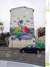 wall mural painting by famous french street artist seth editorial stock photo