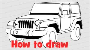 how to draw a car jeep wrangler rubicon youtube