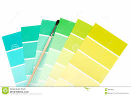 green to blue color chips with paint brush stock image image