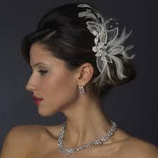 feather hair accessories silver white feather rhinestone bridal hair