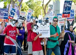 si e social disneyland union members protest disney contract orange county register