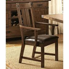rimon solid wood mission style rustic dining arm chairs set of 2