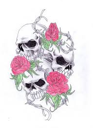 candle skull with roses tattoo design photos pictures and