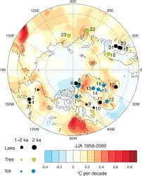 Map Colors Recent Warming Reverses Long Term Arctic Cooling Science