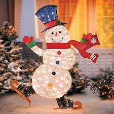 lighted skating snowman outdoor decoration