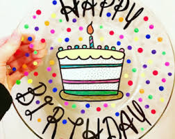 personalized cake plate happy birthday plate etsy