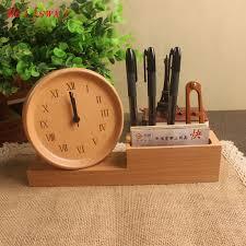 meijswxj alarm clock solid wood reloj electronic desk clock multi function pen holder table clocks