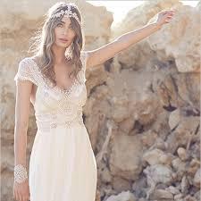 2016 summer beach bohemian wedding dresses lace cap sleeves